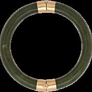 14K Yellow Gold   Nephrite Jade   Bangle Bracelet   Original Box