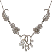 Japanese | Saltwater Akoya Pearl & Diamond Necklace | 16-Inches