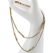Victorian   9ct Rose Gold   Station Necklace   23-Inches