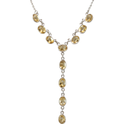 20-Inch | Sterling Silver | Citrine Drop Necklace | Fully Faceted