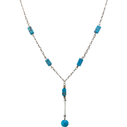 Sterling Silver | Turquoise  Drop Necklace |