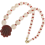 Beautiful | Fluted Carnelian Medallion | Faceted Clear Quartz Beads