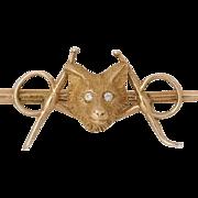 Antique Equestrian | 14K Yellow Gold | Victorian Diamond Fox Bar Pin