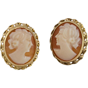 14K Yellow Gold | Carved Shell Cameo Earrings