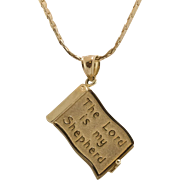 14K Yellow Gold   Fully Inscribed   The Lord is my Shepherd Pendant