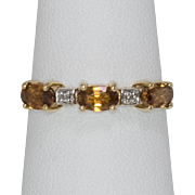 14K Yellow Gold | Citrine Band with Diamonds