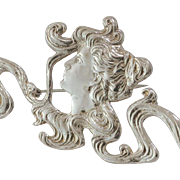 Large Sterling Silver | Nouveau Style | Brooch