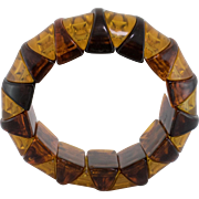 Faux Tortoise and Amber Stretch Bracelet