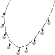 Sterling Silver | Cultured Pearl & Garnet Bead Necklace