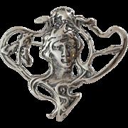 Sterling Silver | Nouveau Figural Brooch/Pendant