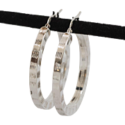 Sterling Silver | Hoop Earrings 1-1/4 Inch