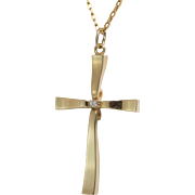 Large - 14K Yellow Gold Cross with Diamond