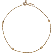 14K Yellow Gold | Rope Style & Bead Bracelet | 7-Inches