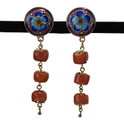 Silver-Gilt | Cloisonné Enamel & Natural Coral Button/Dangle Earrings