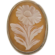 Hand-carved Shell Cameo Flower