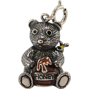 Sterling Silver | Articulated Honey Bear | Enamel Charm