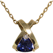 Beautiful | 14K Yellow Gold | Lab Created Trillion Cut Sapphire with Diamond Pendant