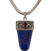 Sterling Silver | Lapis and Garnet Pendant