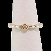 Sterling Silver & 14K Gold Diamond Ring
