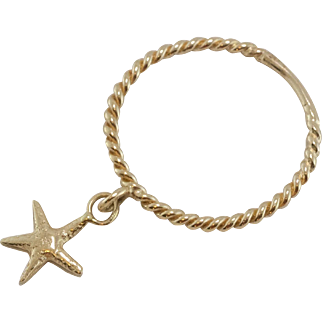 14K Yellow Gold | Rope Ring with Star