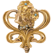 14K Gold and Overlay | Art Nouveau Gibson Girl | Figural Brooch with Hook