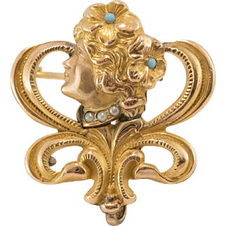14K Gold Art Nouveau Gibson Girl Figural Brooch with Hook