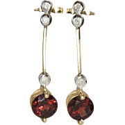 14K Yellow Gold | Garnet & Diamond Earrings