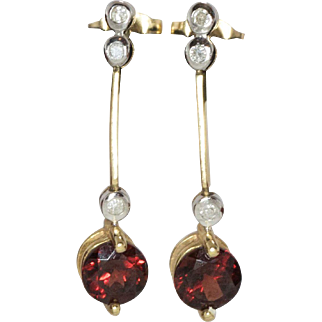 14K Yellow Gold | Garnet & Diamond Earrings