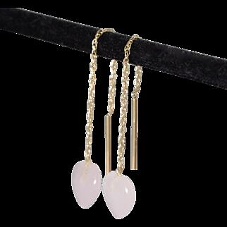 14K Yellow Gold | Rose Quartz Earrings