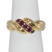 14K Yellow Gold   Ruby Shrimp Ring