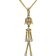 Diamond | 14K Yellow Gold | Girl Pendant with Chain
