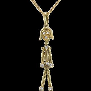 "Fabulous | Diamond 14K Yellow Gold | ""Stick"" Girl with Chain"