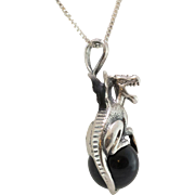Sterling Silver Dragon with Obsidian Marble Sphere Pendant with Chain