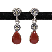 Sterling Silver | Coral & Marcasite Earrings