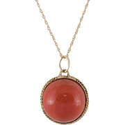 14K Yellow Gold | Red Coral Pendant with 14K Gold Chain
