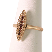 Victorian | 14K Rose Gold | Garnet & Seed Pearl Ring
