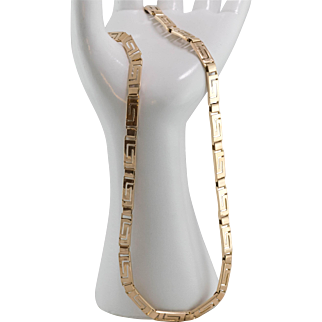 29.5 Grams | 18K Yellow Gold | Greek Key Design | 19-Inch Necklace