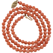 14K Yellow Gold | Angel Skin Coral | Bead Necklace