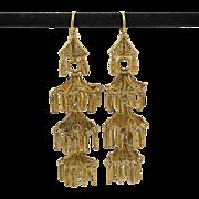12K Yellow Gold   Asian Pagoda Earrings