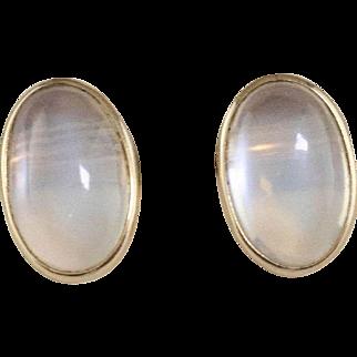 14K  Moonstone Earrings   Yellow Gold