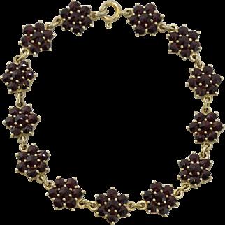 Vermeil   Garnet Station Bracelet   7-3/8-Inches