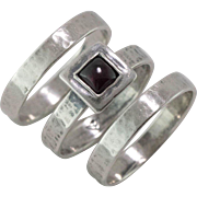 Hand-made Sterling Silver | Set-3 | Garnet Ring and Bands