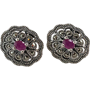 Sterling Silver | Ruby & Marcasite Earrings
