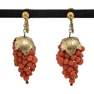 Antique   Italian Red Coral   Grape Cluster Gilt Earrings