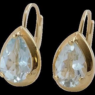 14K Yellow Gold   Aquamarine Hinged Back Earrings