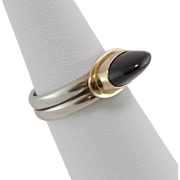 Sterling Silver/14K Yellow Gold | Unusually High Dome | Garnet Ring