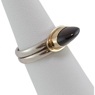 Sterling Silver/14K Yellow Gold   Unusually High Dome   Garnet Ring