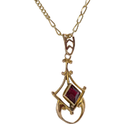 10K Yellow Gold | Synthetic Ruby Pendant