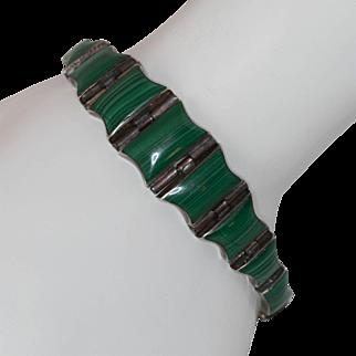 Hand-made   Sterling Silver   Banded Malachite Bracelet   22.1 Grams