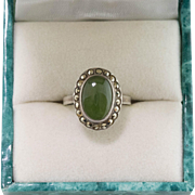 Sterling Silver | Green Chrysoprase & Marcasite Ring